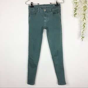 AMERICAN EAGLE OUTFITTERS Twill Jeggings green